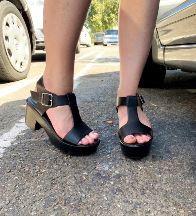 reviewer wearing the chunky sandals with a T-strap and ankle straps