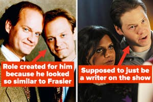 """Arrow pointing to Niles from Frasier labeled """"Role created for him because he looked so similar to Frasier"""" and arrow pointing to Morgan on The Mindy Project labeled """"supposed to just be a writer on the show"""""""