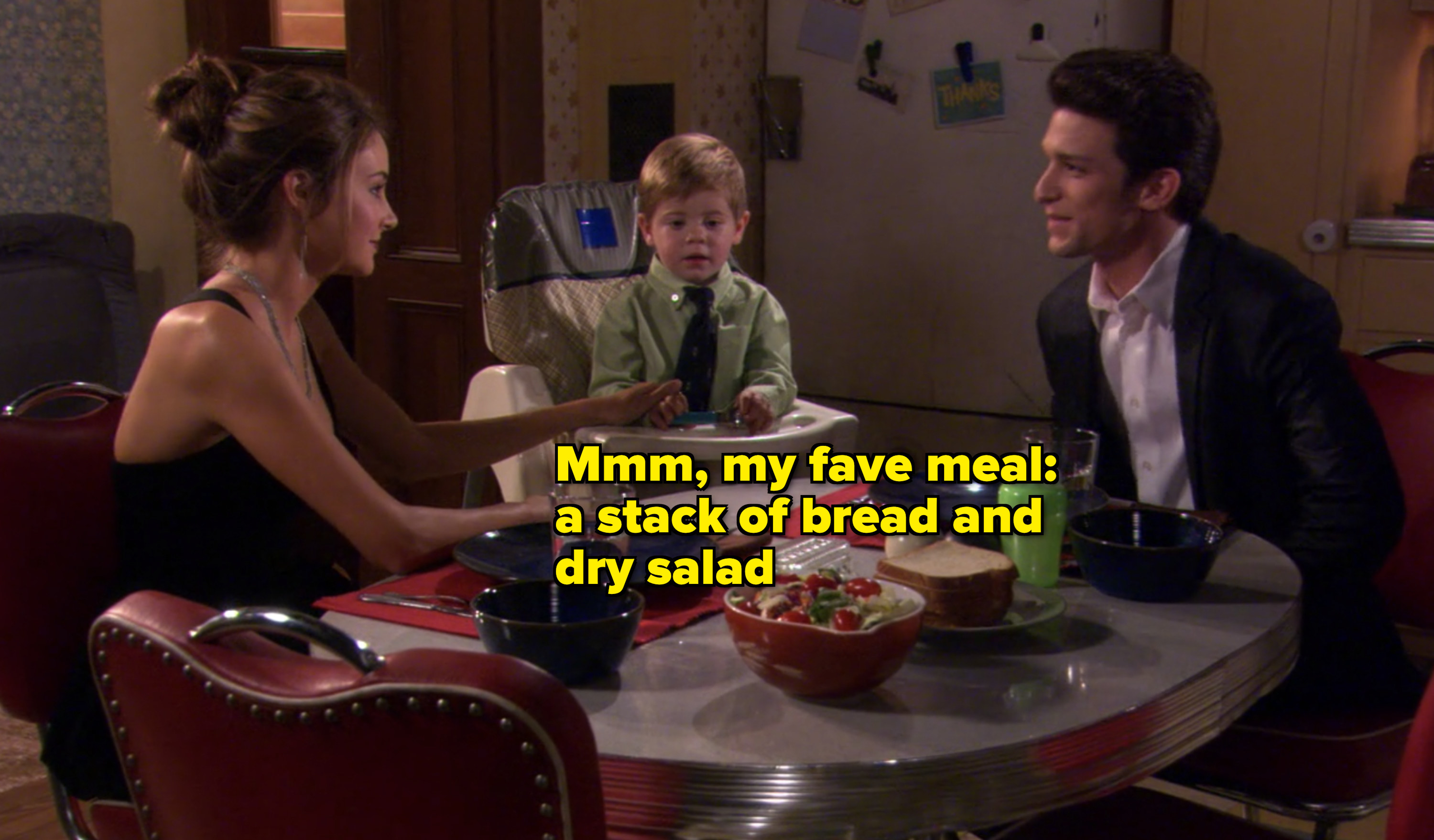 amy, her baby, and ricky having dinner