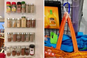 spices on side of cabinet; carabiner attached to a shopping cart