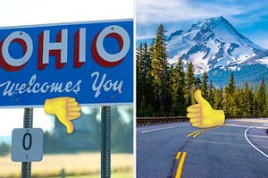 """A road sign that reads """"Ohio Welcomes You"""" on the left with a thumbs-down emoji and a view of Mount Hood on the right with a thumbs-up emoji"""