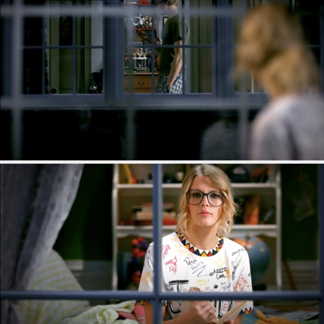 Taylor watching her neighbor through her bedroom window