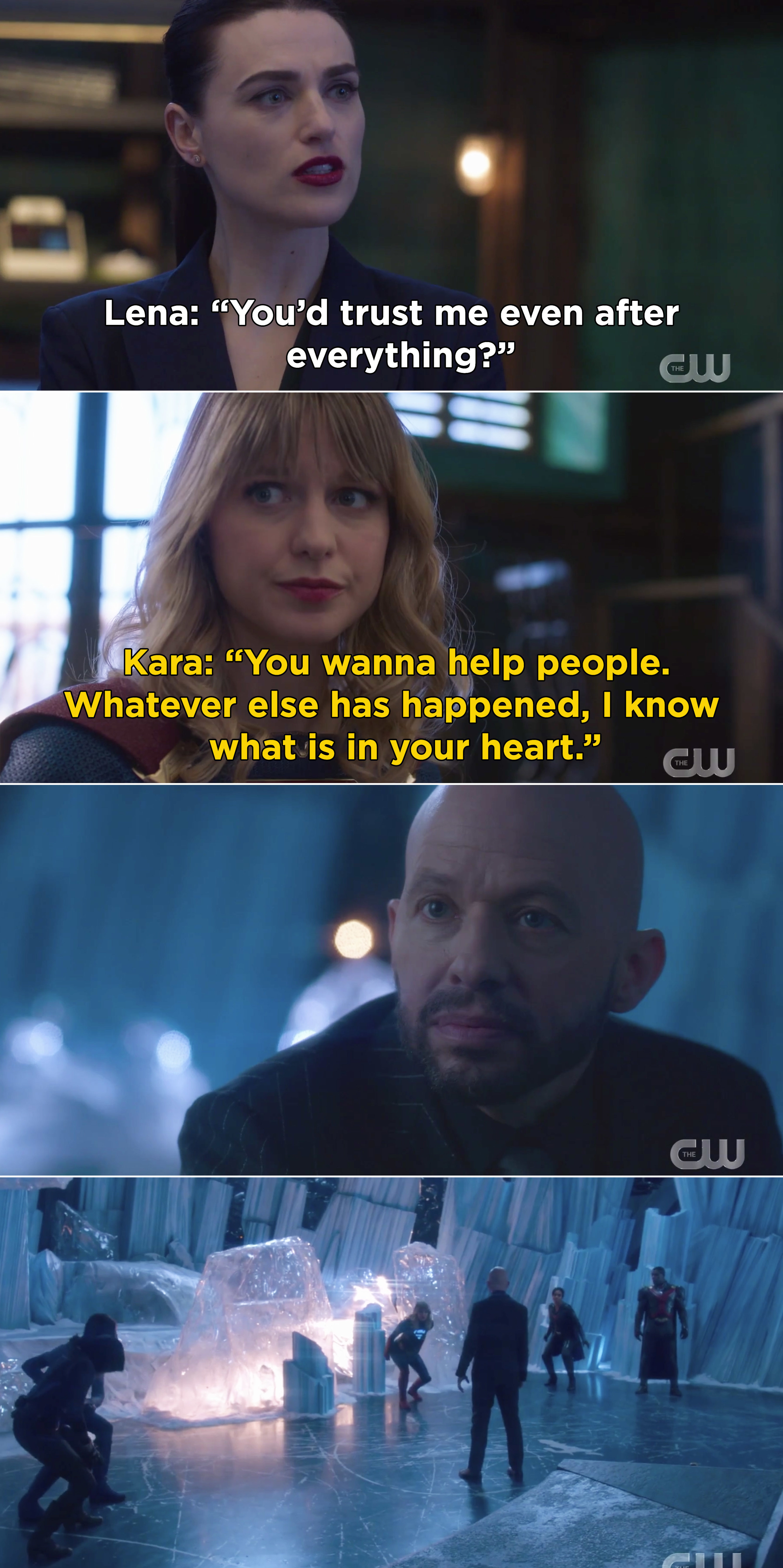 """Kara telling Lena, """"You wanna help people. Whatever else has happened, I know what is in your heart"""""""