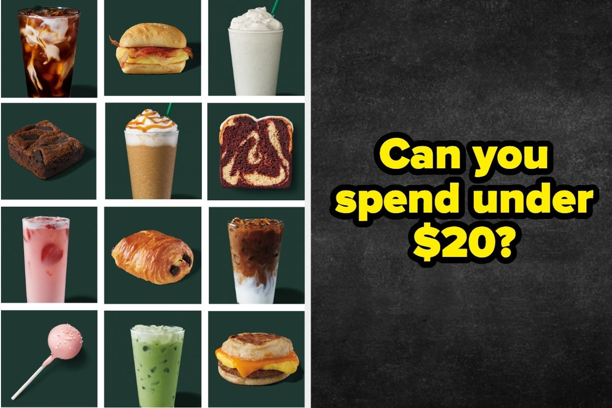 """A grid of starbucks menu items and the test """"Can you spend under $20?"""""""