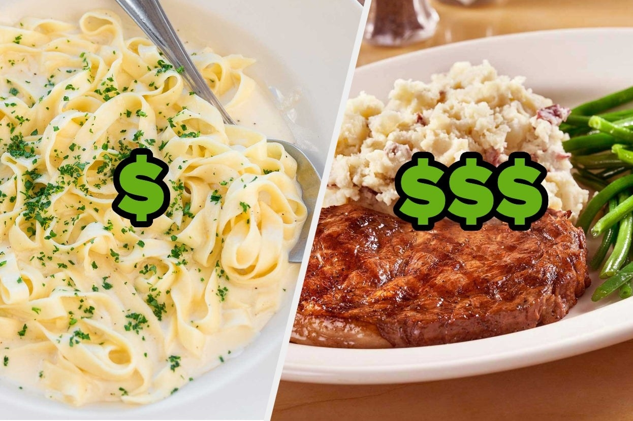 Pasta with one dollar sign And a steak meal with three dollar signs
