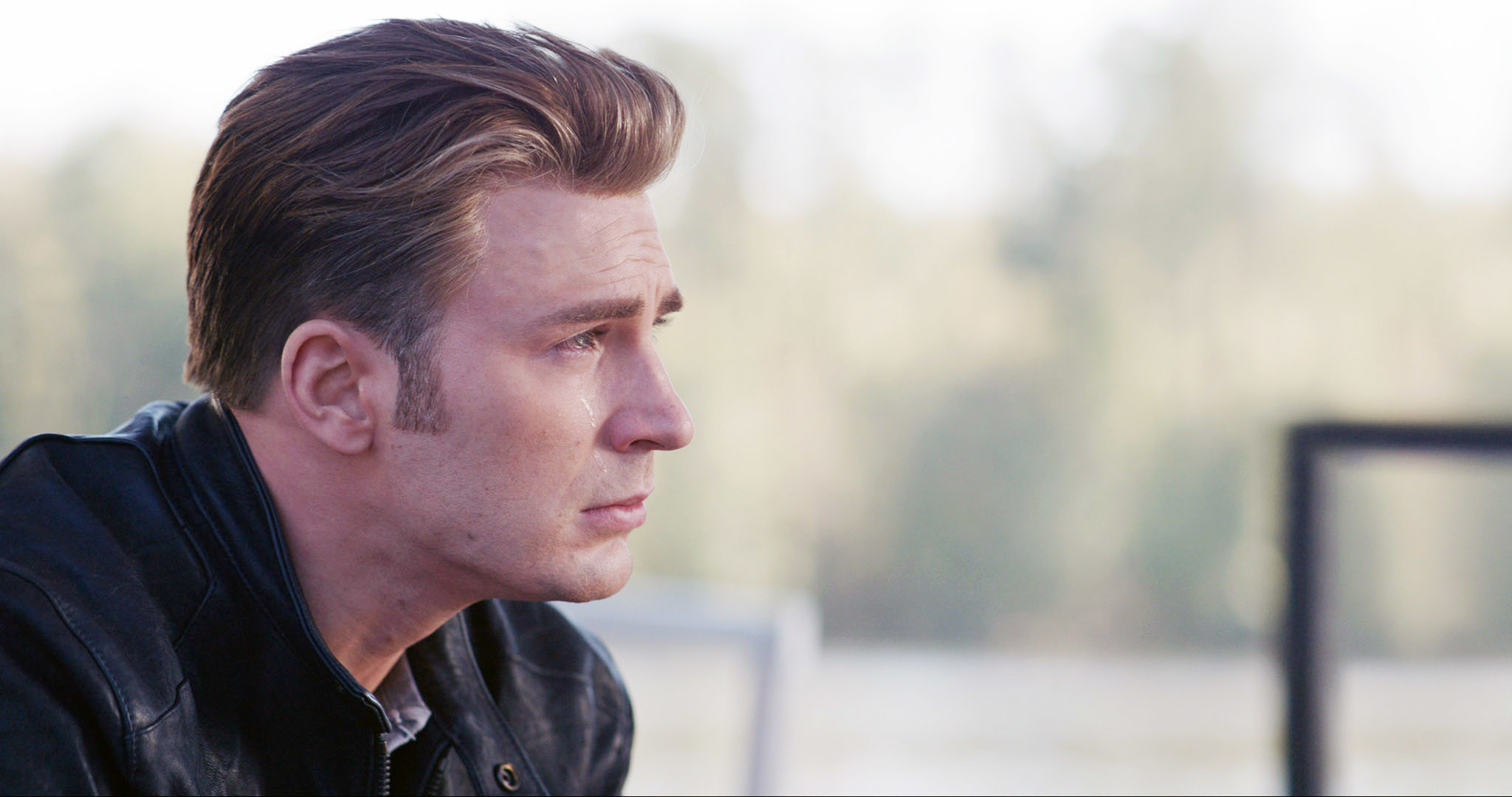 Photo of Steve crying and looking into the distance in Endgame