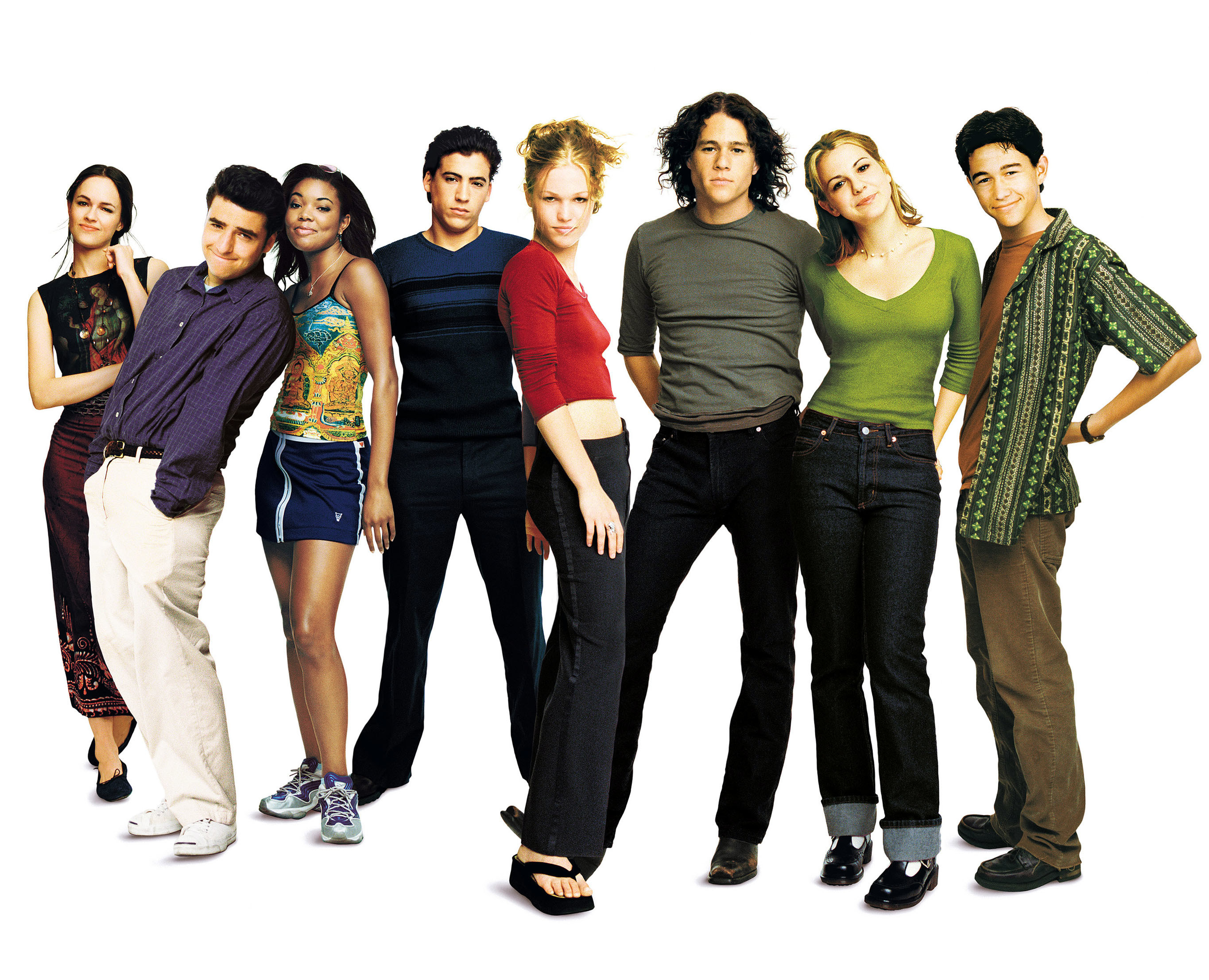 Photo of the cast of 10 Things I Hate About You agains a white background