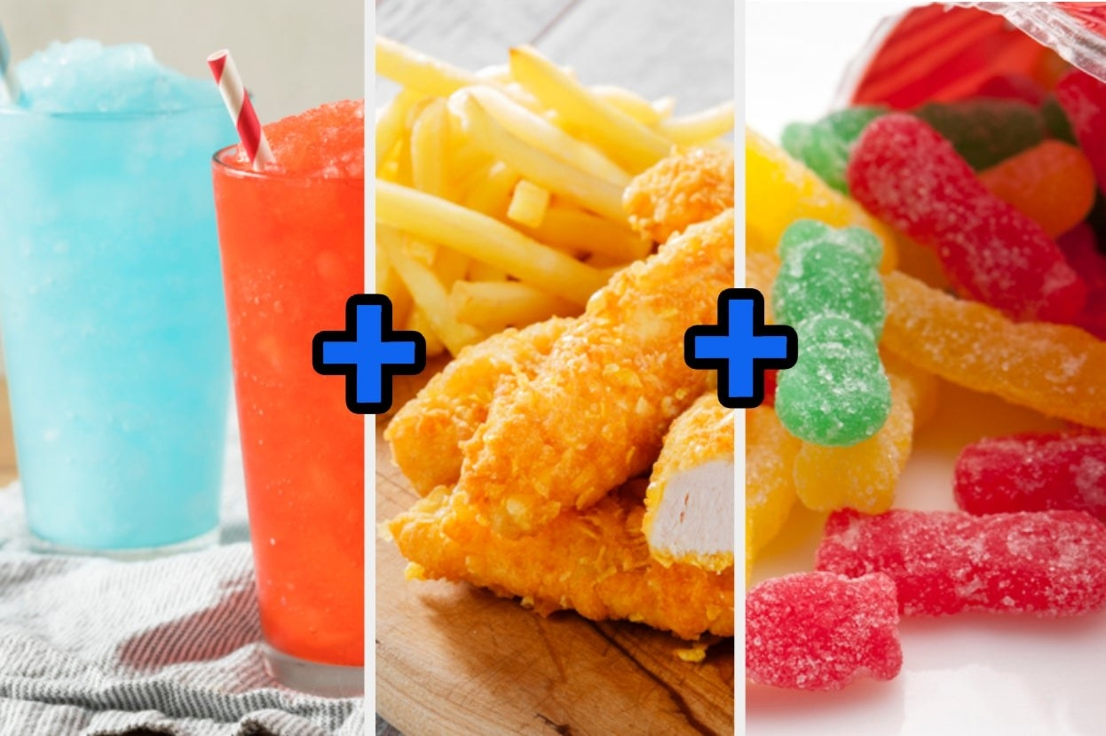 A slurpee, chicken tenders and fries, and sour patch kids
