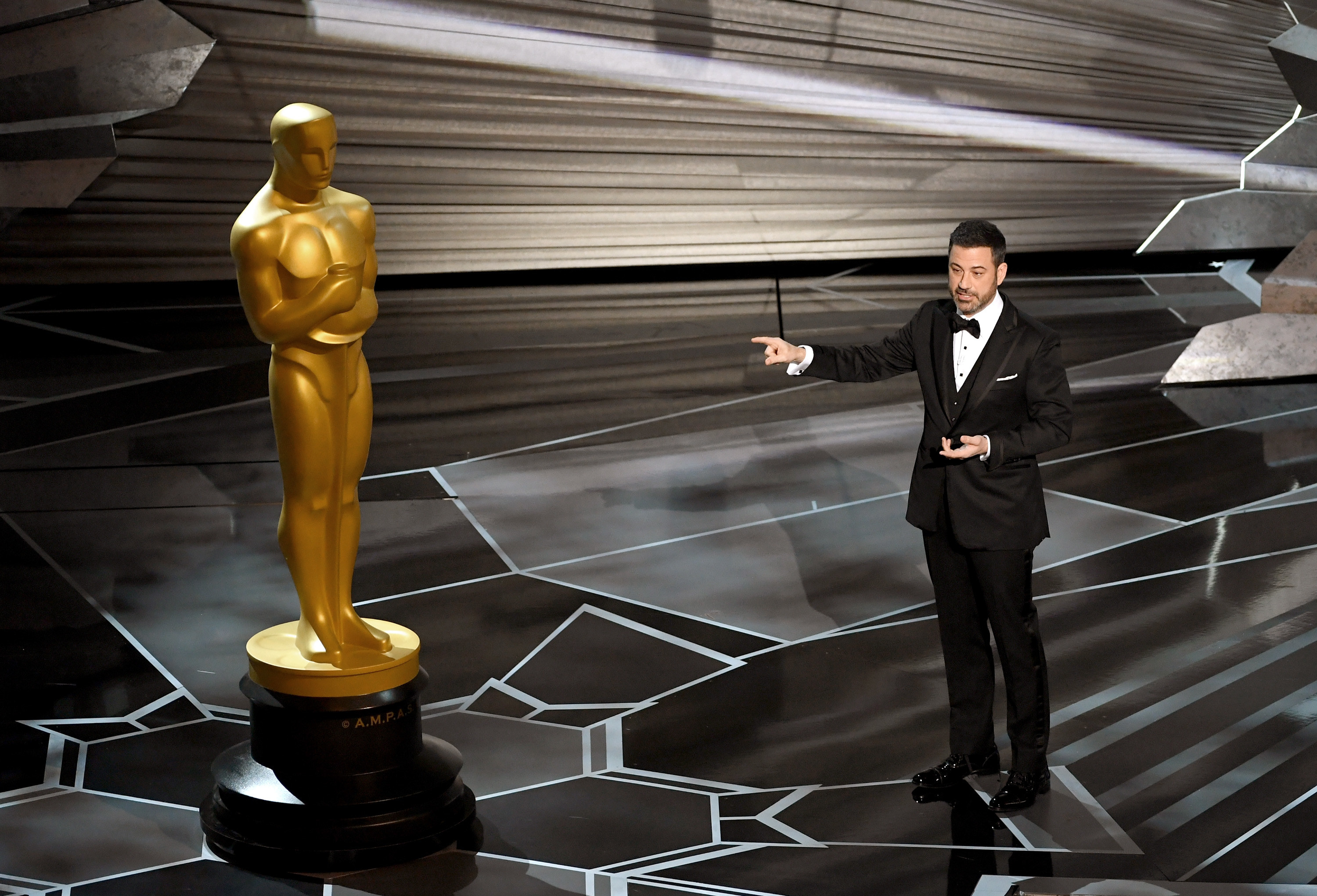 Jimmy Kimmel onstage at a previous Oscars