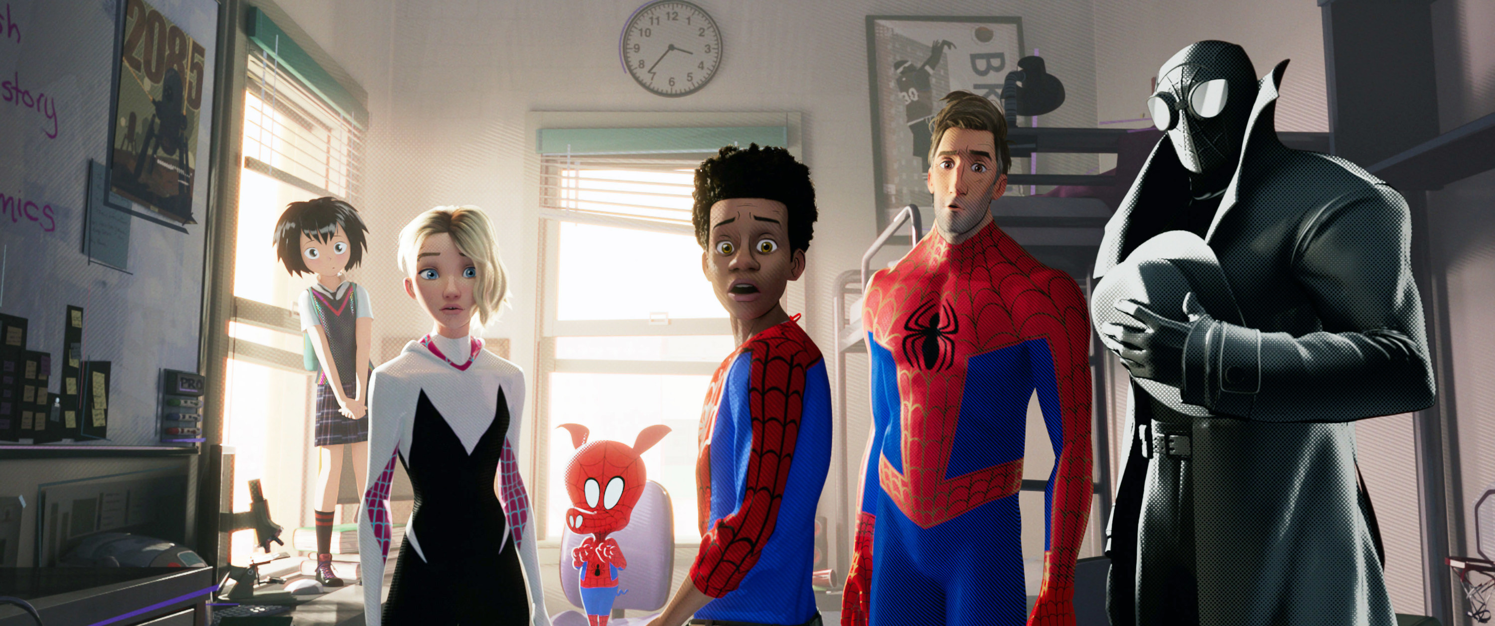 Photo of all the different Spider-Man from the Spider-Verse looking surprised