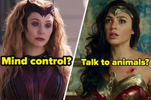 """Elizabeth Olsen as Wanda Maximoff in the show """"WandaVision"""" and Gal Gadot as Wonder Woman in the movie """"Justice League."""""""