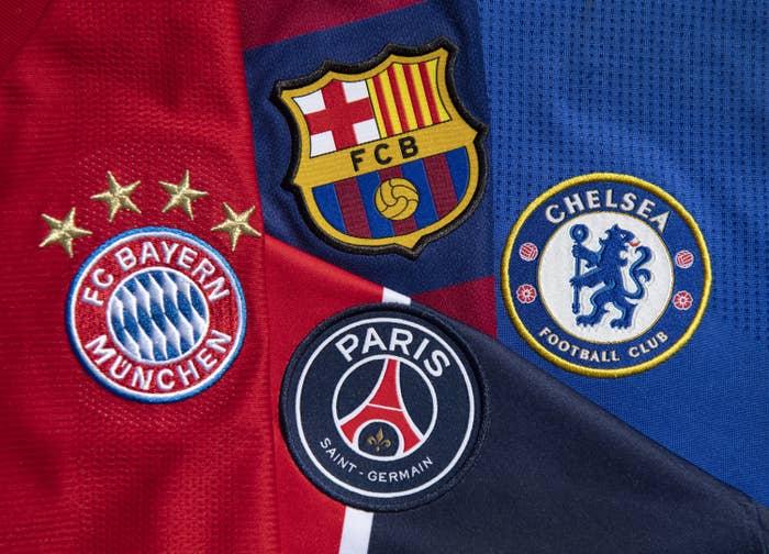 Four soccer team emblems: PSG, Barcelona, Bayern, and Chelsea