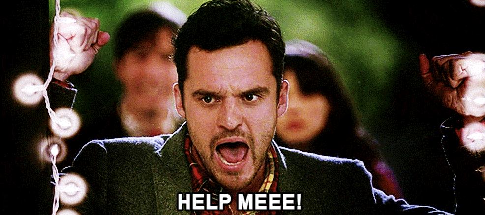 """Nick Miller screaming """"help me"""""""