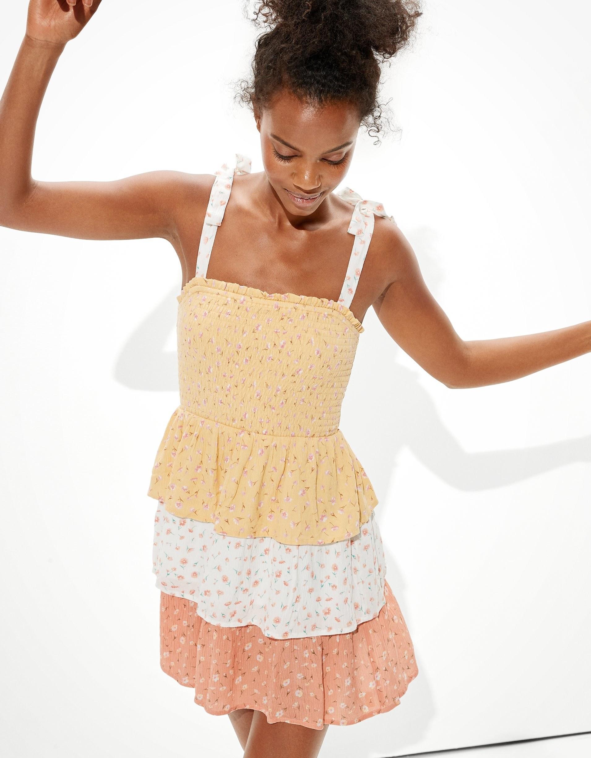 A model twirling in the dress