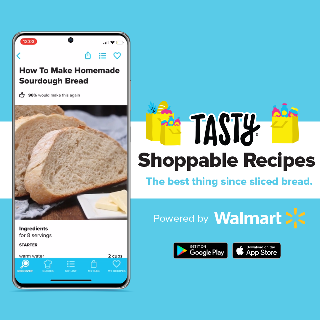 """the app on a phone next to the text """"Tasty shoppable recipes the best thing since sliced bread. Powered by Walmart"""" with google play and app store logos"""