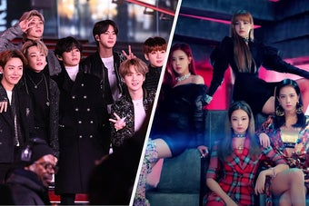 BTS is on the left with Blackpink on the right