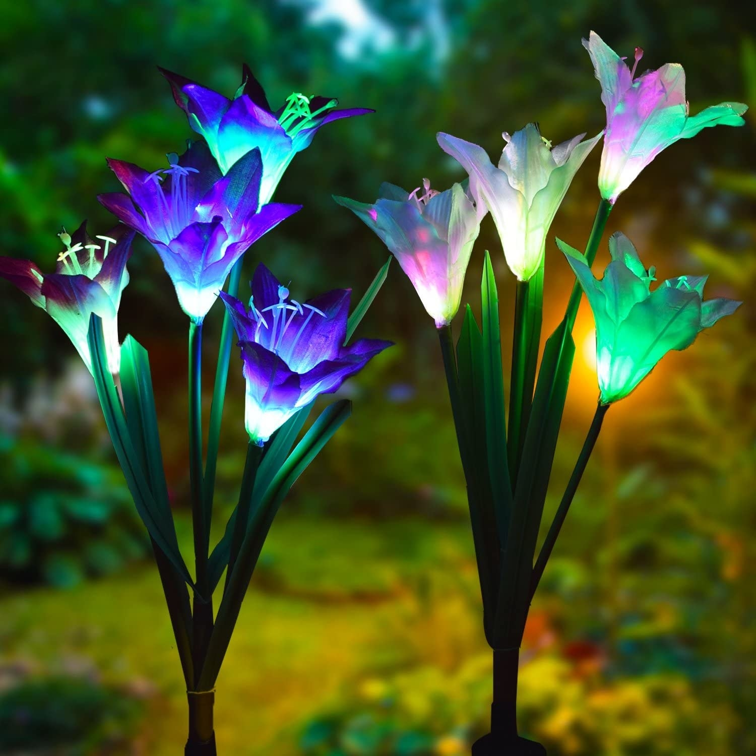 light up colorful fake flowers