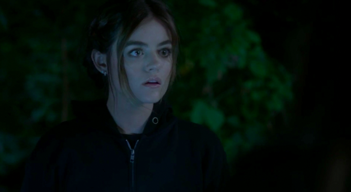 """Aria dressed up as A in Season 7 of """"Pretty Little Liars"""""""