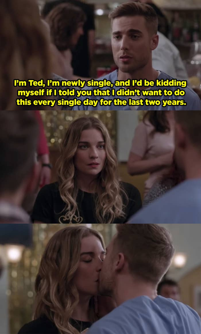Ted introducing himself to Alexis at her singles mixer, he tells her he's newly single and has been wanting to kiss her for the past two years, then they kiss.