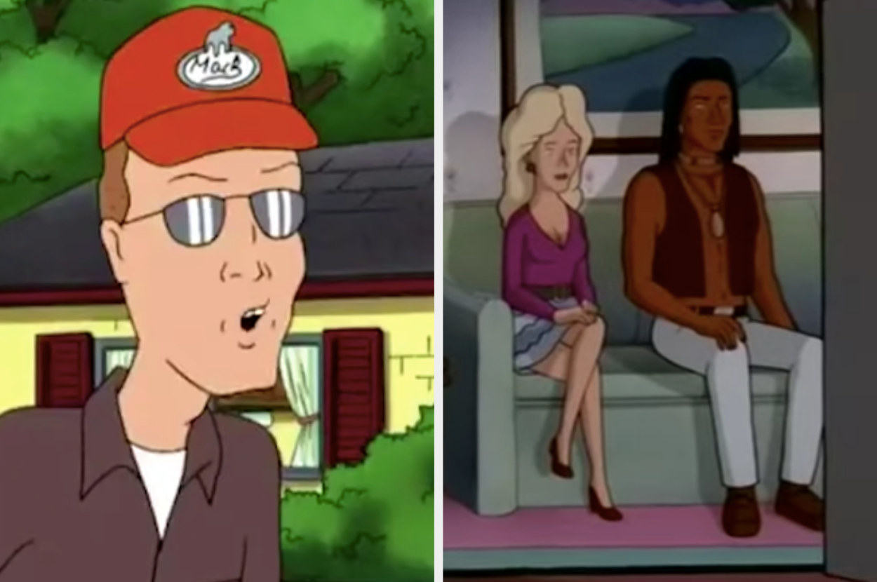 """Side by side of Dale talking and Nancy and John Redcorn sitting on a couch watching TV in """"King of the Hill"""""""