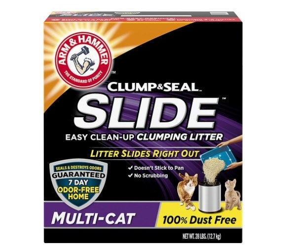 The Arm & Hammer clumping litter box in orange, black, and purple
