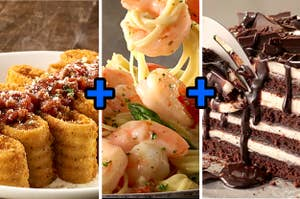 炸烤宽面条,虾scampi和巧克力烤宽面条蛋糕