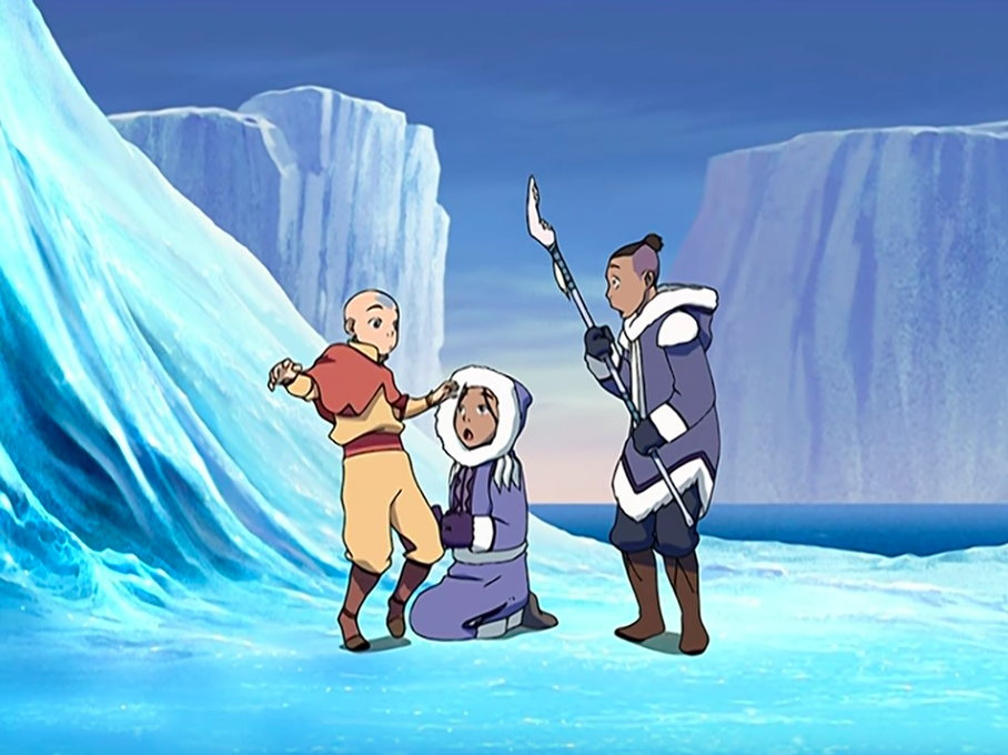 """Katana and Sokka finging Aang in the ice in """"Avatar: The Last Airbender"""""""