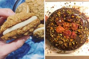 cream-filled oatmeal cookies and a chocolate orange cake