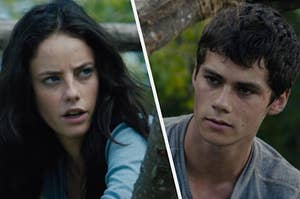 """Dylan O'Brien as Thomas and Kaya Scodelario as Teresa in the movie """"The Maze Runner: The Death Cure."""""""