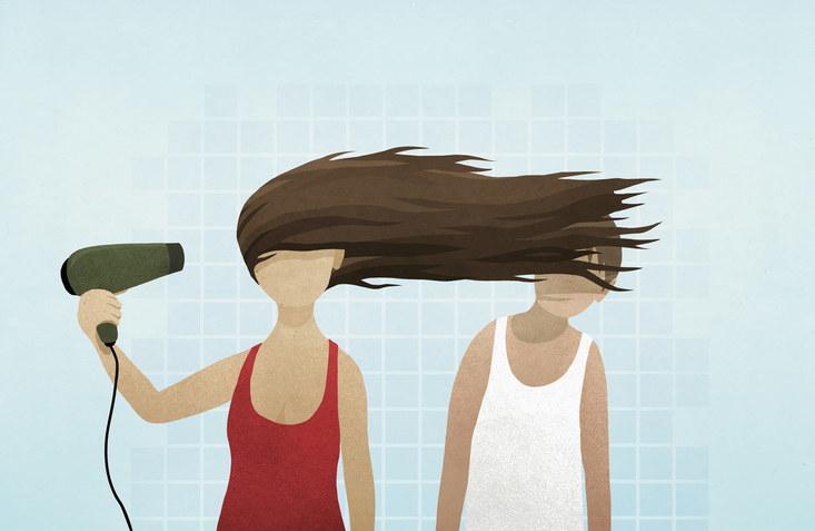 cartoon woman blow drying hair