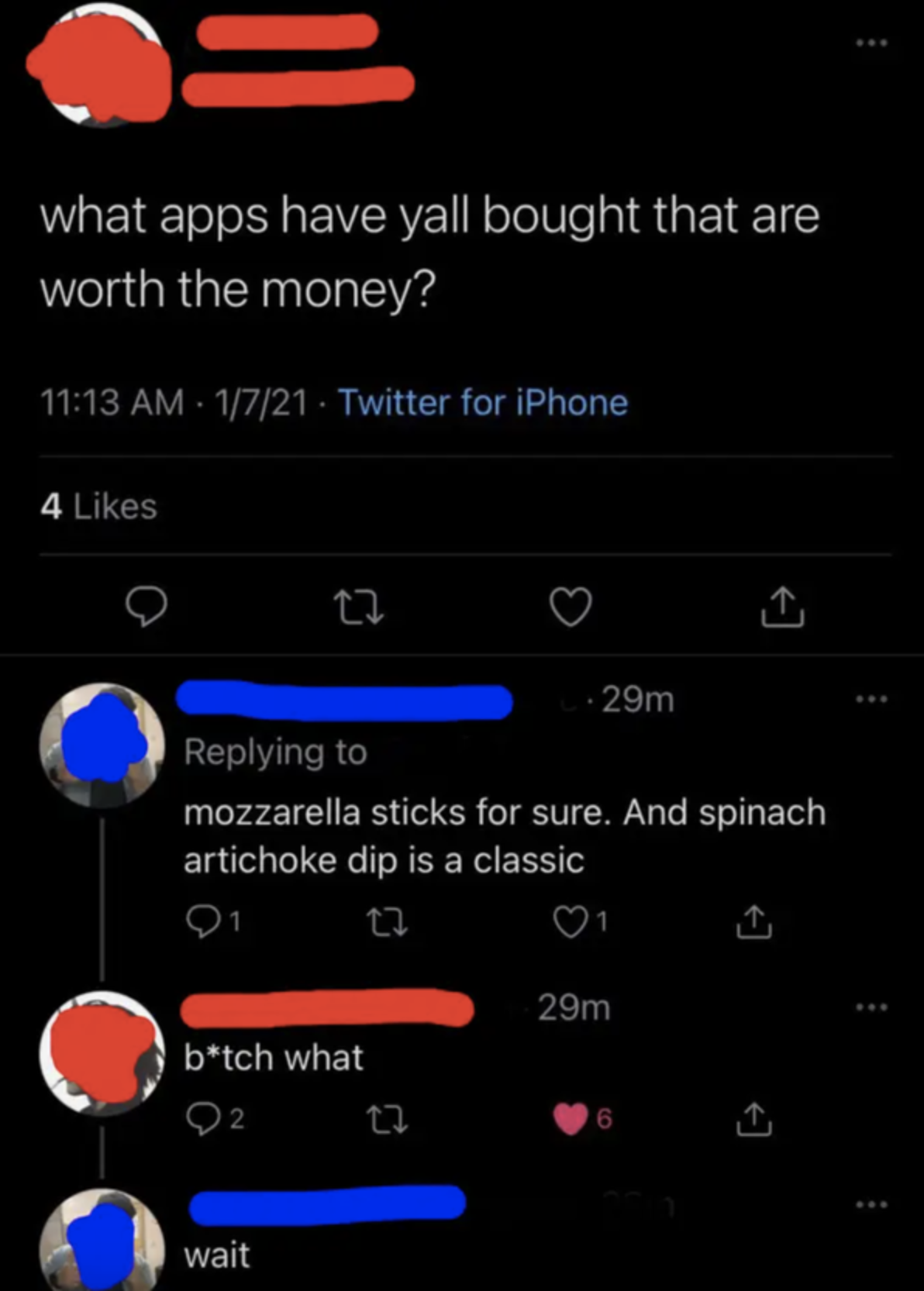 tweets about someone confusing phone apps for appetizers
