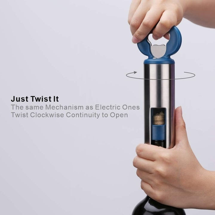 """a model's hand twists the multifunctional corkscrew and beer opener to uncork a wine bottle with text that reads """"just twist it"""""""