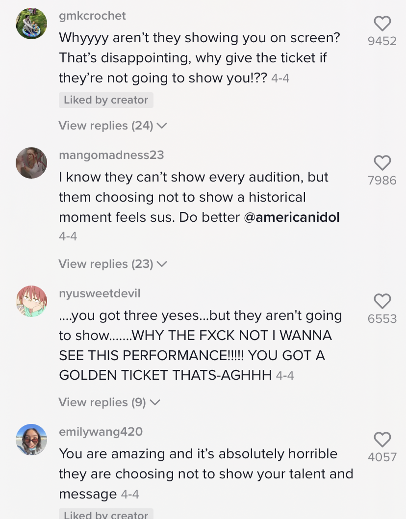 """TikTok comments read """"you are amazing and it's absolutely horrible they are choosing not to show your talent and message"""""""