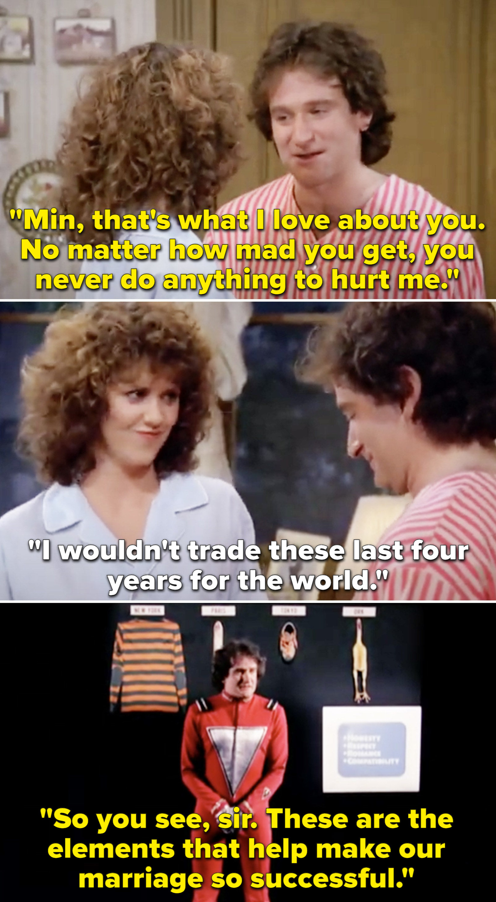 Mork and Mindy telling each other they love one another and Mork reporting back to his planet