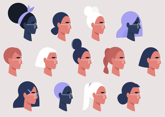 Female faces collection