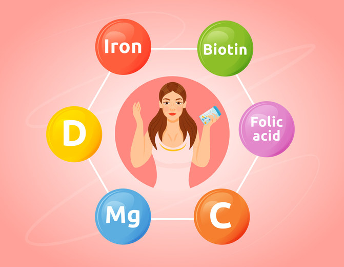 Young girl 2D cartoon character withVitamins and minerals