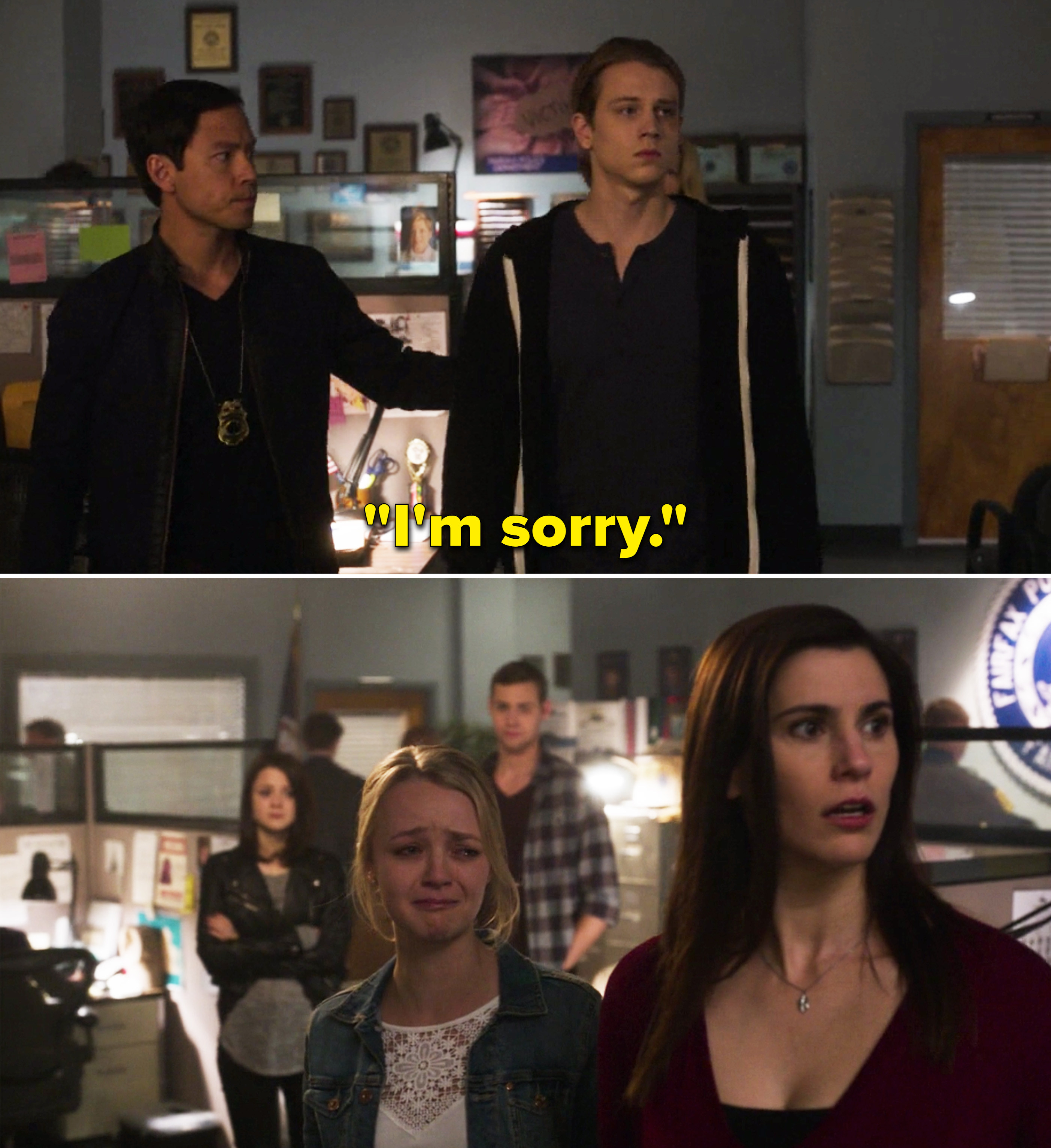 """Max saying, """"I'm sorry"""" in a police precinct"""