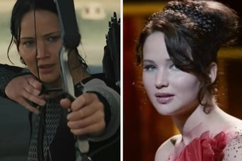 Katniss in battle and during her interview