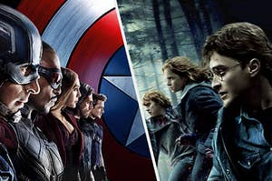 The Avengers facing off with the golden trio from Harry Potter