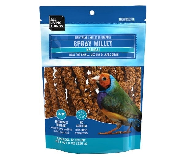The spray millet bird seed treat pack in a blue package
