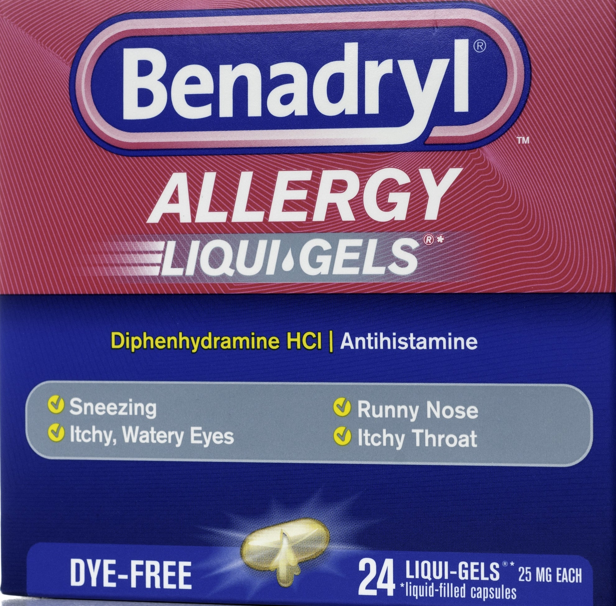 A Benadryl liquid gel pack