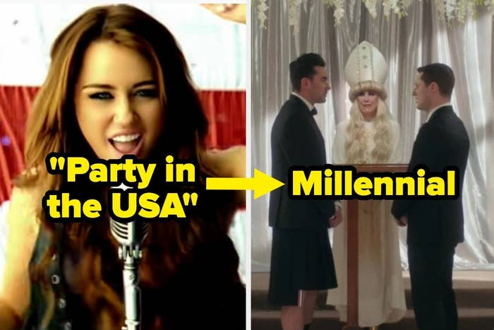 """Party in the USA"" over Miley, an arrow, and ""Millennial"" over a wedding"