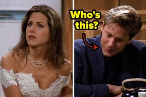 rachel green in a wedding dress on the left and paul the wine guy on the right