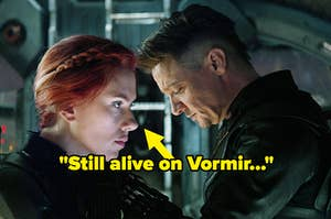 """Natasha and Clint in """"Infinity War"""" with an arrow pointing at Natasha and text reading, """"Still alive on Vormir"""""""