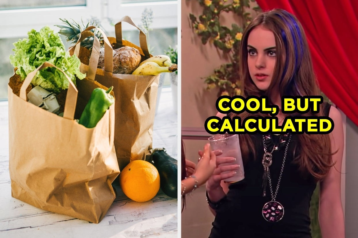 "Grocery bags and Jade West with the words ""cool, but calculated"""