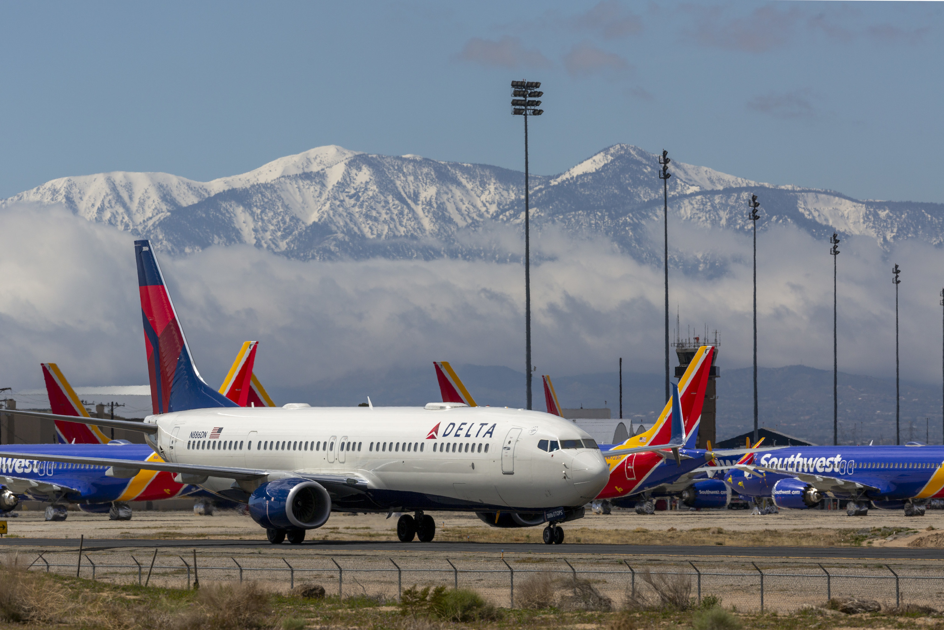 A Delta airlines plane on a runway