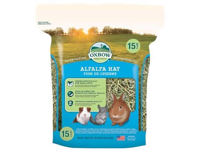 The pack of alfalfa hay in blue and green packaging