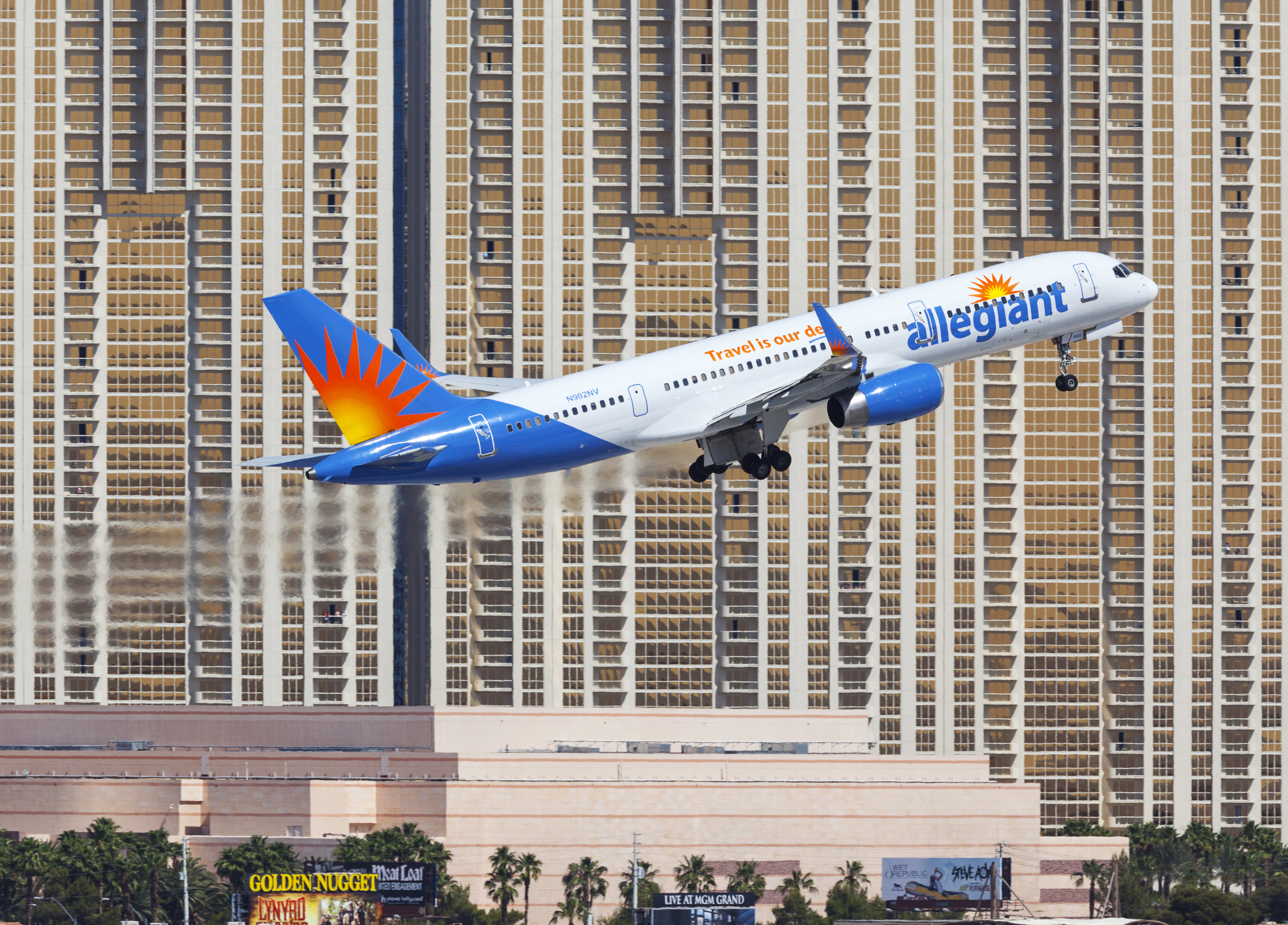 An Allegiant Airlines plane taking off from an airport
