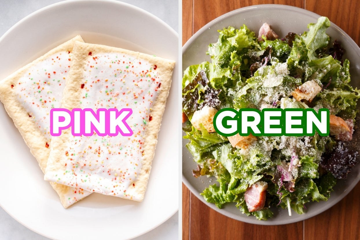 "On the left, two strawberry sprinkle Pop-Tarts on a plate labeled ""pink,"" and on the right, a Caesar salad in a bowl labeled ""green"""