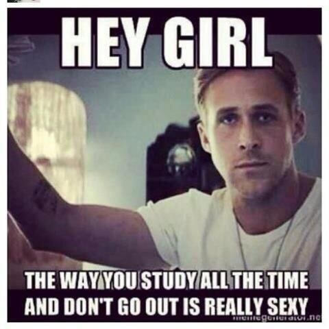 "Meme of Ryan Gosling with ""hey girl, the way you study all the time and don't go out is really sexy"" written on it"